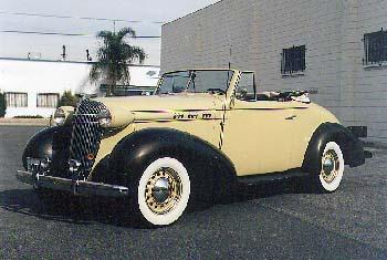 w/ Rumble Seat 2-door Exterior: cream & brown (tan top) Interior: black w/ tan leather