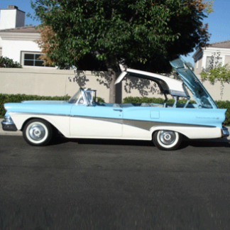 1958 Ford Skyliner Convertible - Blue and White