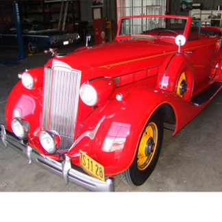1936 Packard 2dr Convertible, Red