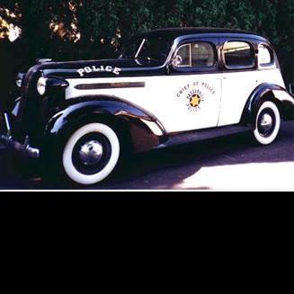 1936 Pontiac Police Car, Black and White