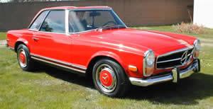 1970 Mercedes Benz 280SL, Convertible, Red