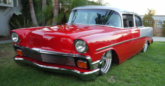 1956 Chevy 210 Sedan, Red and Silver Pearl