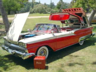 1959 Ford Skyliner Convertible, Red and White
