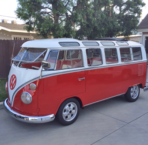 1964 Volkswagon 21 window Bus Red and White